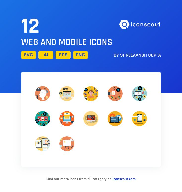 Web And Mobile  Icon Pack - 12 Flat Icons