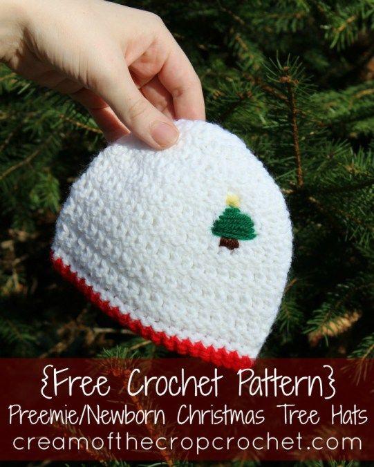 Cream Of The Crop Crochet ~ Preemie/Newborn Christmas Tree Hats {Free Crochet Pattern}   Moogly ...