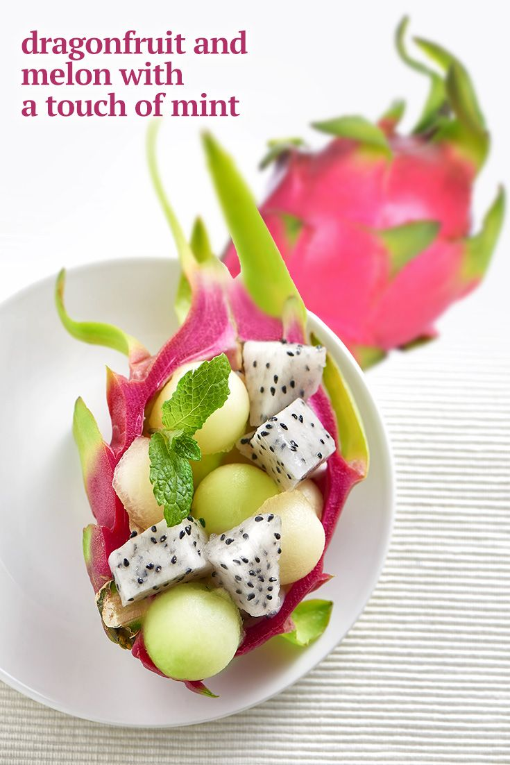 Couldn't be easier, scoop out the dragonfruit and put the scoops back in the shell with melon scoops. Light taste that's refreshing. For more dragonfruit ideas... http://www.brookstropicals.com/blog/no-recipes-needed-dragonfruit-dishes/#utm_sguid=168705,d2093967-5a1f-86ee-8b3b-37bd2317ace5