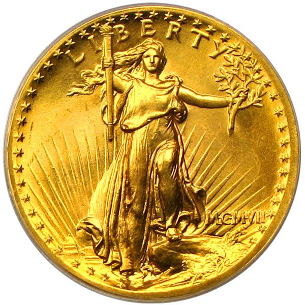 1907 $20 St Gaudens gold coin, mint state (auction $77,000 +) from David Lawrence rare coins