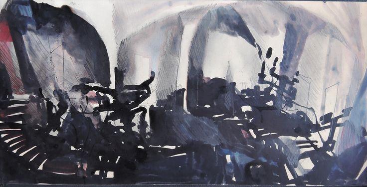 Le sei mogli di Barbablù / Schizzo preparazione bozzetto per una scena (ecoline e matite su carta) • GianVincenzo Gatti