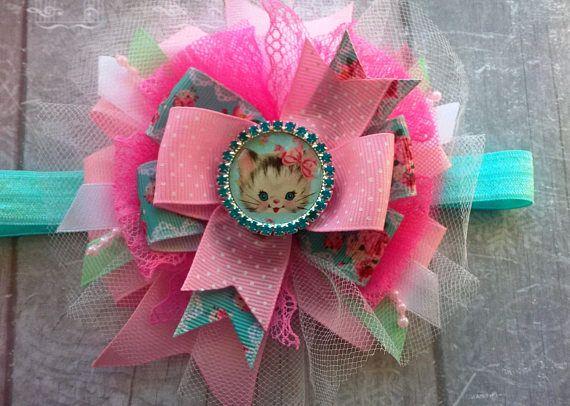 Big bow Kitty hair bows Pink hair bow Kawaii Photo props Baby