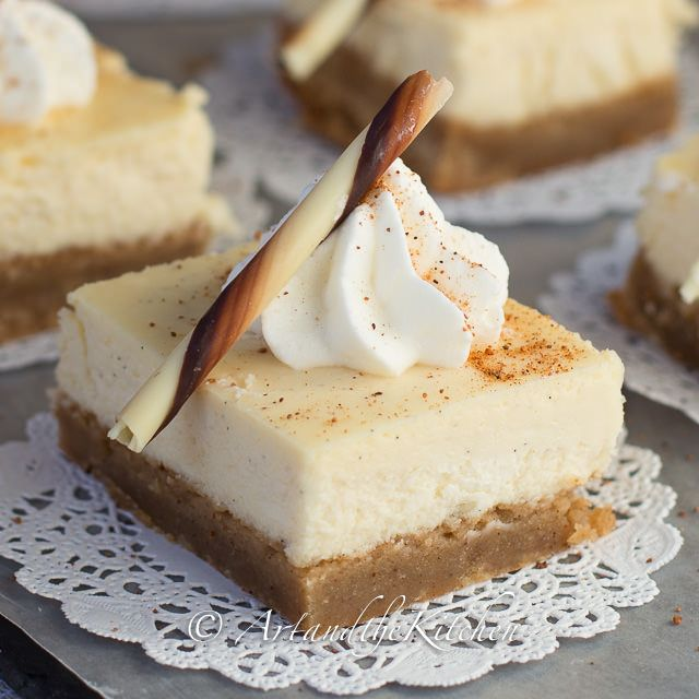 Eggnog Cheesecake Squares are made with a creamy, smooth cheesecake ...