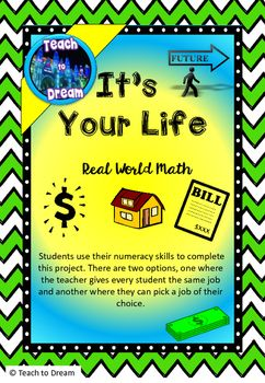 Real World Math Project, Middle School, End of Year Project. Are you looking for a math project that will engage your students?This unit of work has been designed to allow middle school students to use their math skills in real world setting. Over a series of lessons students learn to budget and understand living costs.