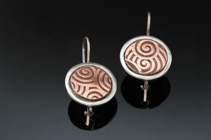 Round Silver Copper Earrings - Spiral Embossed Copper Inlay - Dressy Earrings - Unusual Silver Earrings - Handmade in BC Canada by Fullmoonjoolz on Etsy