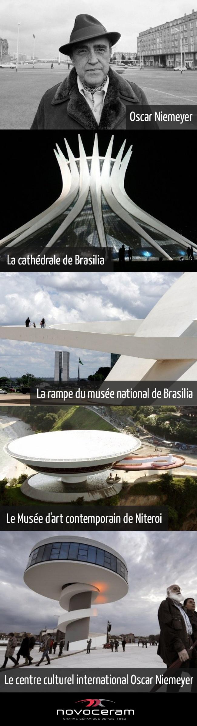 Hommage à l'architecte Oscar Niemeyer définit par Jean Nouvel comme « le dernier monstre sacré des architectes de la modernité du XXème siècle, le Matisse de l'architecture »
