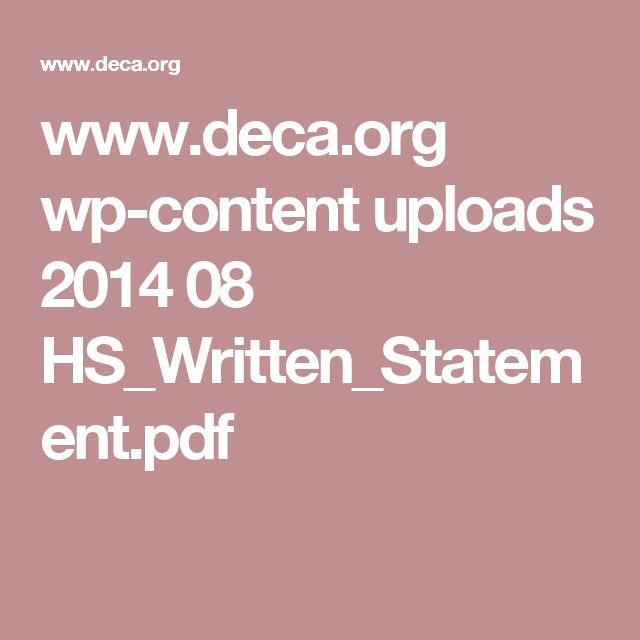 www.deca.org wp-content uploads 2014 08 HS_Written_Statement.pdf