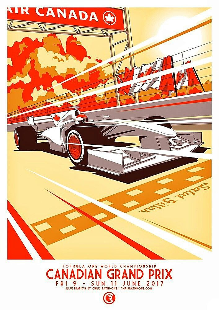 2017 Canadian Grand Prix poster! Montreal, Canada hosts the 50th running of the Formula 1 Grand Prix of Canada on 11 June 2017 at the Circuit Gilles Villeneuve on the city's Ile Notre-Dame (Notre Dame Island), a man-made island in the St. Lawrence River. The first F1 Canadian Grand Prix was held at Mosport in Ontario, Canada, on 27 August 1967 after Canada's successful bid to host a Formula 1 race.   Artwork by Chris Rathbone