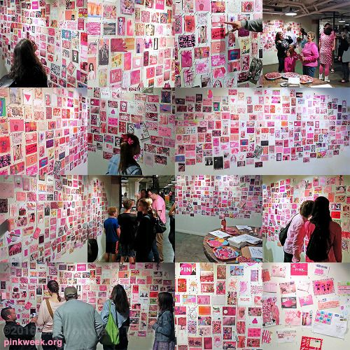 The opening reception was very pink.  The pink mail art show will remain on exhibit through November 30, 2016 at Warehouse Artists Lofts (WAL), 1104 R Street, Sacramento, California.