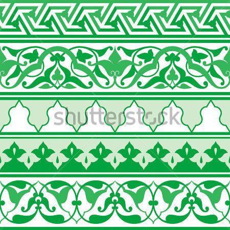 Арабский Восточный орнамент, бесшовные декоративные полосы, цветочный узор-мотив, Арабески, границы, арабский орнамент.