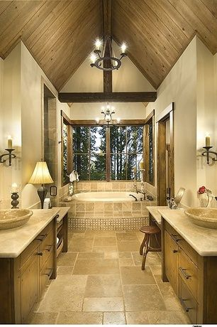 Craftsman Master Bathroom With Tumbled Travertine Tile