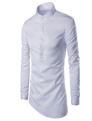 Langærmet Ensfarvet Mænds Fritid / Arbejde / Formelt Skjorte Bomuld Sort / Hvid…