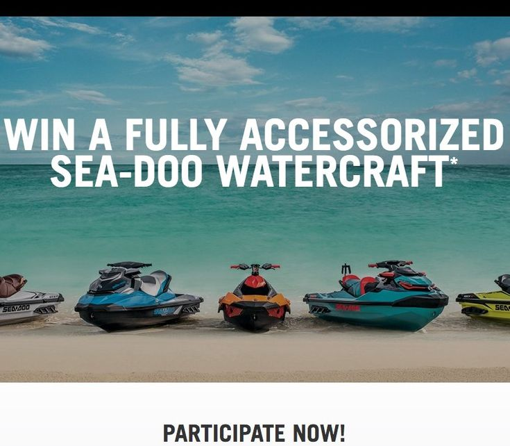 Win the choice of one fully-accessorized Sea-Doo watercraft or ATV worth up to $27,799.00. Open to legal residents of Canada, the United States (excluding Puerto Rico), who have reached the age of majority in their states/provinces of residence as of...