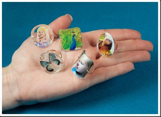 anel de resina com foto