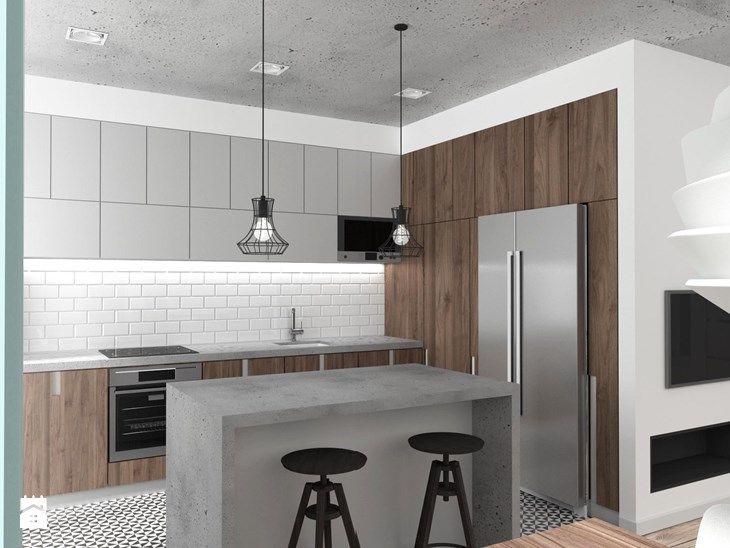 Mieszkanie Wrocław 50 m2 - Średnia otwarta kuchnia w kształcie litery l z wyspą, styl industrialny - zdjęcie od RT Studio