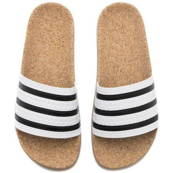 New WOMENS Adidas ADILETTE CORK Slides Sandals White Brown Flip Flops... ($90) ❤ liked on Polyvore featuring shoes, sandals, flip flops, slide sandals, summer sandals, summer shoes, brown sandals and cork sandals