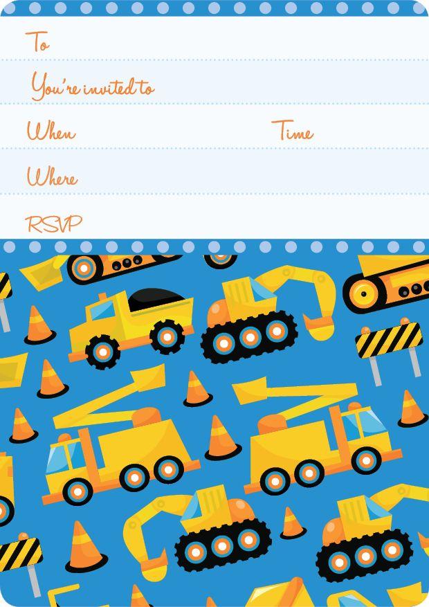 Construction Trucks Kids Party | Construction Invite Set- 15 invites + coordinating envelopes + magnets $17.50 Shop for it http://www.partymama.com.au/boys-invitations-construction-invite-set-p-10.html