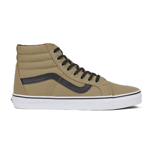 Vans Men's Sk8-Hi Reissue Twill/Gingham Trainers ($87) ❤ liked on Polyvore featuring men's fashion, men's shoes, men's sneakers, tan, mens sneakers, mens shoes, mens high top skate shoes, mens low tops and mens black hi top sneakers