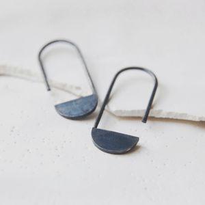 AgJc: Oxidized silver geometrics pendants earrings #16 / Les géométriques collection