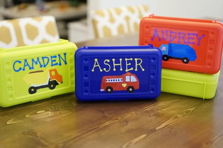 Personalized Pencil Box Birthday Favors.