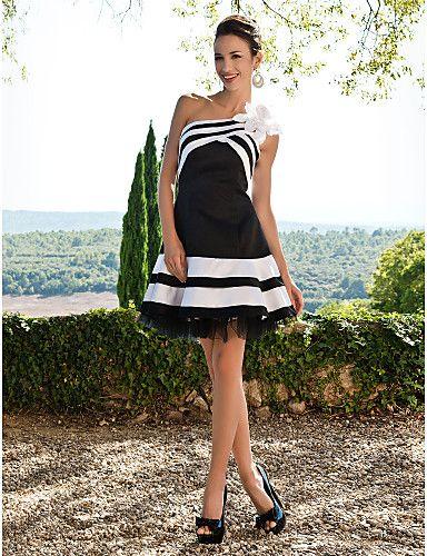 TS couture® коктейль / сладкий 16 платье - короткая плюс размер / миниатюрное Онлайн одно плечо короткий / мини-атласа с цветком (ов) / оборками 264454 2017 – $79.99