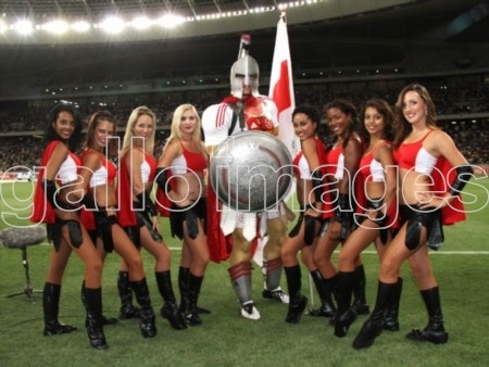 JANUARY 14, Ajax Cape Town Cheerleaders with the Mascot during the Absa Premiership match between Ajax Cape Town and Kaizer Chiefs at Cape Town Stadium on January 14, 2011 in Cape Town, South Africa.Photo by Shaun Roy / Gallo Images