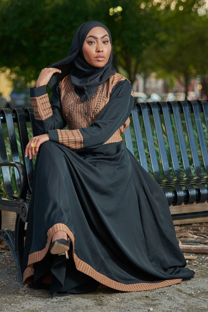 Dress abaya with full umbrella skirt that flows beautifully with each step. Fine stonework on chest, waist and sleeves of abaya. Pair with matching scarf for a more formal look. - Nida fabric abaya wi