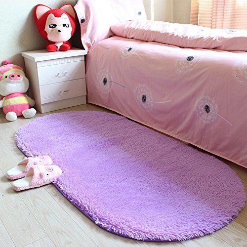 YJ.GWL High Pile Soft Shag Oval Rugs Fluffy Children Bedroom Nursery Carpets Anti-Slip Backed Home Décor Rug 2.6' X 5.3'(Purple)