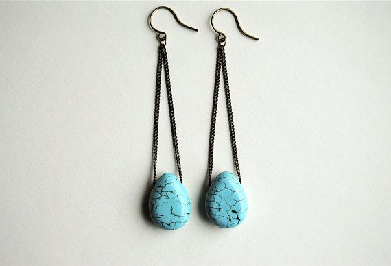 Turquoise Tear Drop Earrings  Free Shipping in the by SPARKLEFARM, $22.00