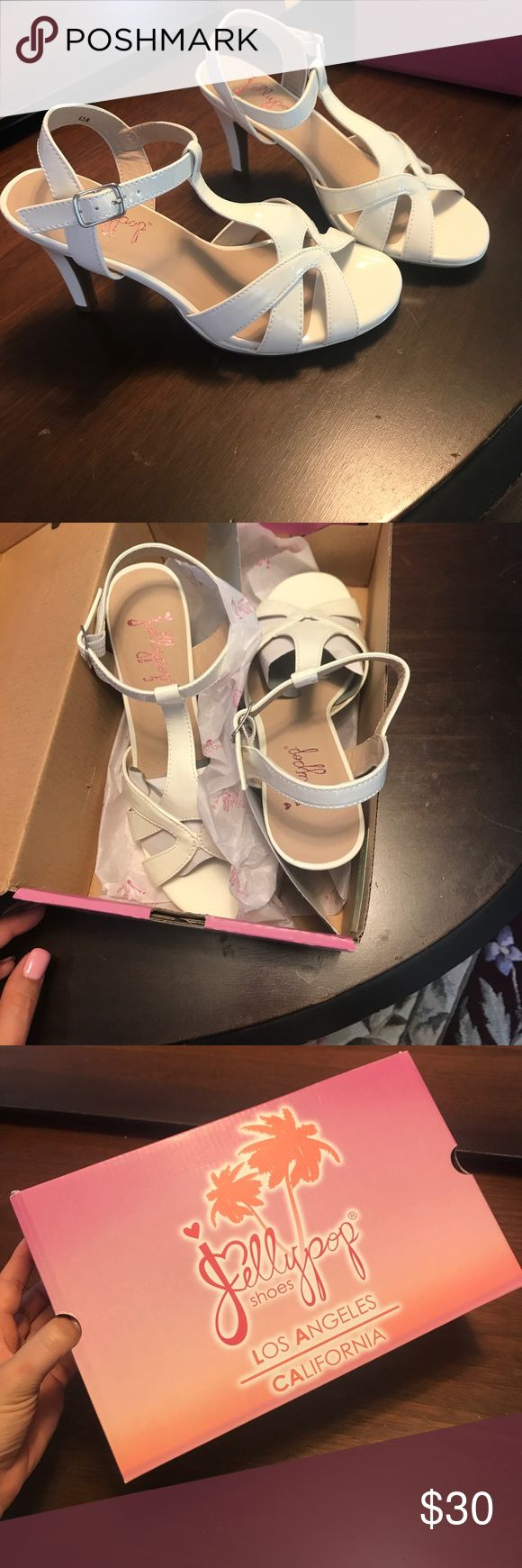NEW Women's White Jellypop Shoes size 6.5 Brand new, never used Jellypop Shoes. Womens. Size 6.5. These are so cute for this summer to wear with a cute summer dress or a night out! 💓🤗 paid new 49.00 asking 30 Jellypop  Shoes Heels