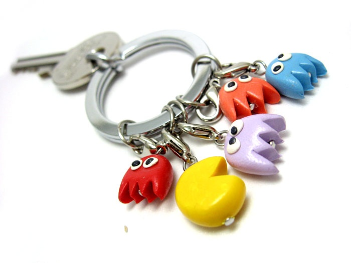 stephanie's design pacman polymerclay charms
