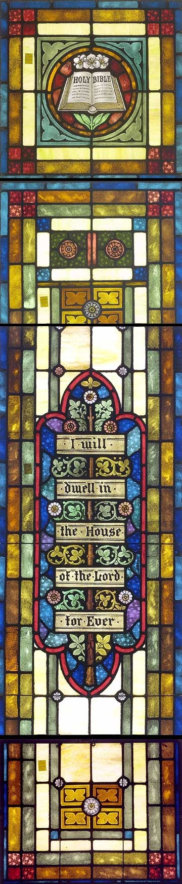 """Client:  First Congregational United Church of Christ  Location:  Ogdensburg, New York  Restoration  Date:  2004       Scope of Project:  Historic restoration of a 142"""" tall three-lancet window  Restoration by Willet Hauser Architectural Glass"""
