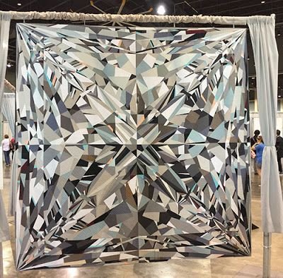 """Most awesome """"gray quilt"""" ever? BLING by Katherine Jones - Best of Show at QuiltCon 2017"""