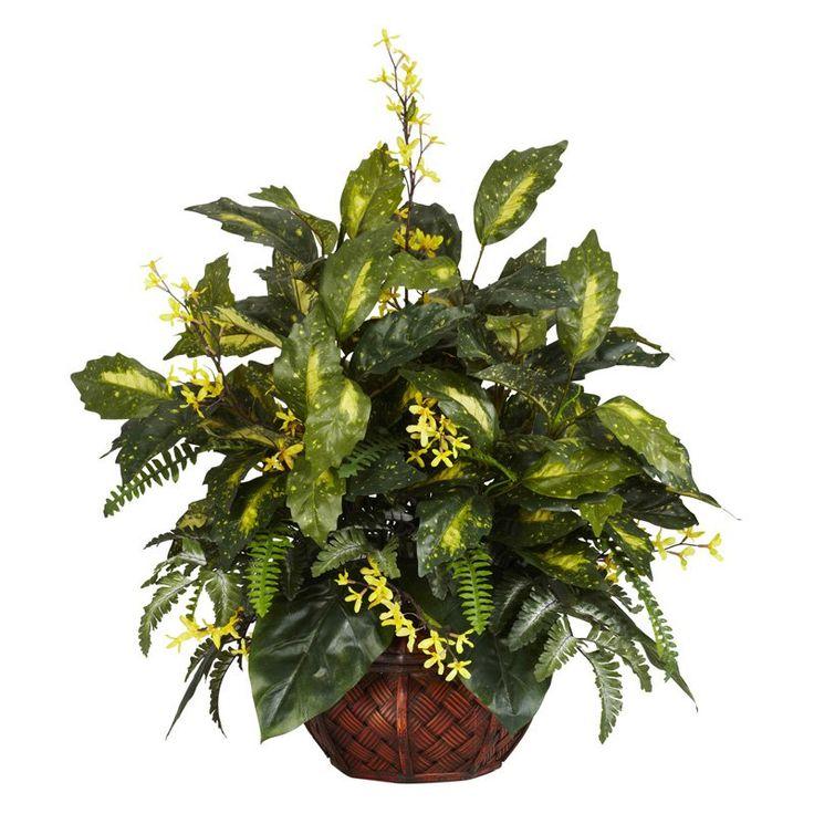 Forsythia & Mixed Greens Silk Plant - 6644