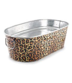 leopard-print party tub - Chasing Fireflies ( find a tub & do nautical theme on side)