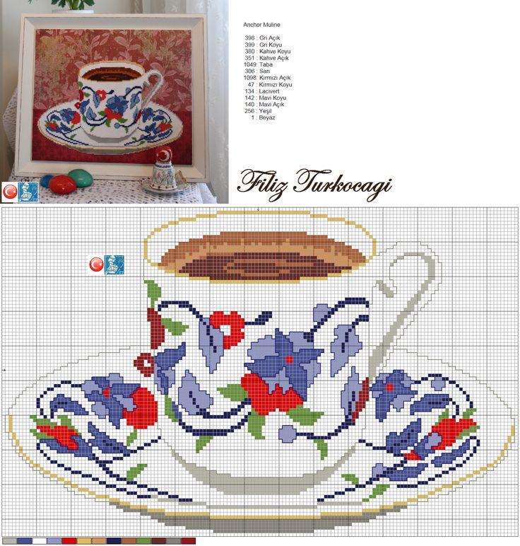 '' Az şekerli bi kahve yap, Sade içemiyorum Afitap '' Aynı benim gibi :)) (Turkish coffee cup ) Designed and stitched by Filiz Türkocağı...