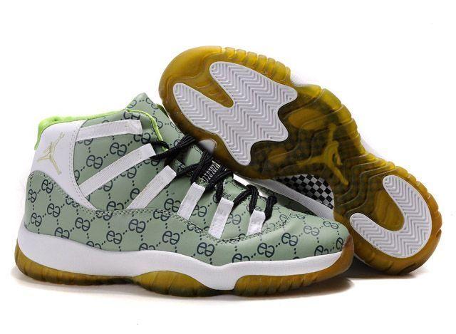 Jordan Shoes Air Jordan 11 Retro Monogram Green White Gold [Air Jordan 11 -  Great quality and excellent craftsmanship enable the Air Jordan 11 Retro ...