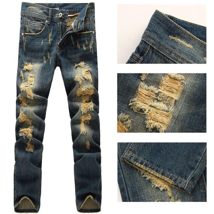 Cheap Hombres italia moda apenada Jeans #605 tamaño 28 36 destruido Ripped Biker pantalones, Compro Calidad Jeans directamente de los surtidores de China:                       Tamaño: el tamaño asiático  (Por favor, comprar una talla más grande de lo normal)