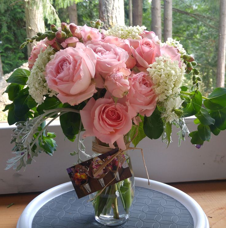 Romantic pink Roses and white Hydrangea with Cerinthe and more - all grown at our gardens on Alchemy Farm on Salt Spring Island! #roses #flowerfarmer #romanticflowers #oldfashionedroses