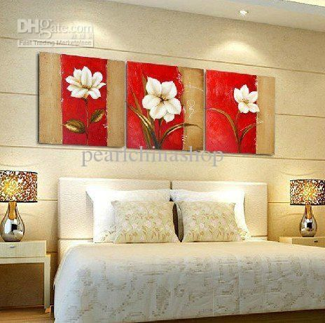 Wholesale hot saling Modern Abstract Huge Wall Art Oil Painting On Canvas 3panels white flower, Free shipping, $38.67-43.32/Piece | DHgate