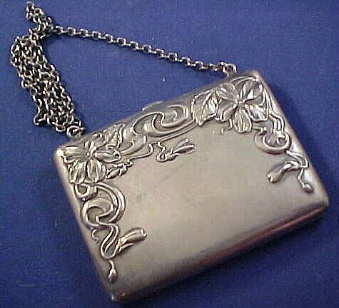 Art Nouveau Violet Sterling silver Purse on Chain