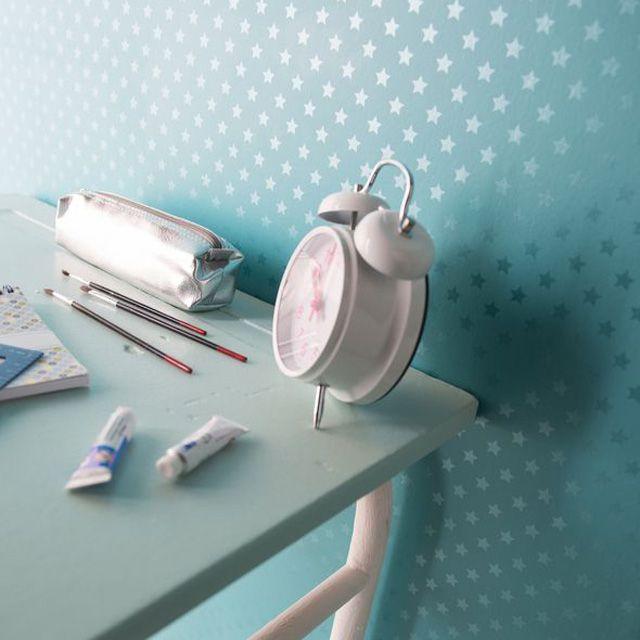 Papier peint Duplex Etoiles Turquoise - CASTORAMA - 12 €