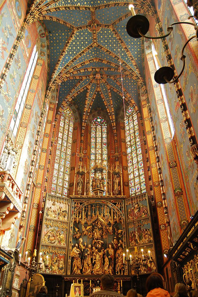 Altar of St Mary's church Krakow, with triptych by Veit Stoss  It was carved between 1477 and 1489, in a Gothic style. Doors of more than 6 meters (about 20 feet) in height open and close like a book.  Photo by Bart Van den Bosch(Wintermute314)