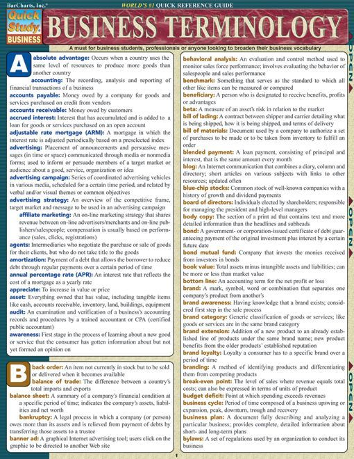 This amazingly comprehensive guide is a must for business students, professionals or anyone looking to broaden their business vocabulary. This 6-page guide is packed with 100's of daily business terms. Browse and download thousands of educational eBooks, worksheets, teacher presentations, practice t