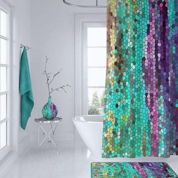 Beautiful Shower Curtain Teal And Purple Mosaic Unique Fabric Teal Purple Colorful Bathroom Decor Art For The Bathroom In 2020 Fancy Shower Curtains Teal Home Decor Bathroom Art