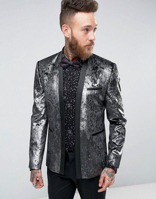 ASOS | ASOS Super Skinny Blazer In Silver Velvet