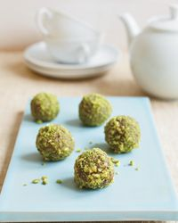 "Moroccan-Date Bonbons - Elizabeth Falkner loves eating these energy-boosting, cardamom-spiced date bites made with almonds, walnuts and pistachios. ""Eat two of these as a snack or with some juice for breakfast, and you're satisfied,"" she says."