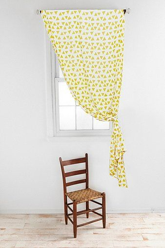 Triangles Curtain in Yellow - Urban Outfitters