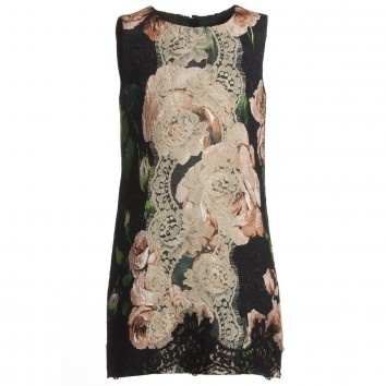 Dolce & Gabbana Lace & Rose Black Dress at Childrensalon.com