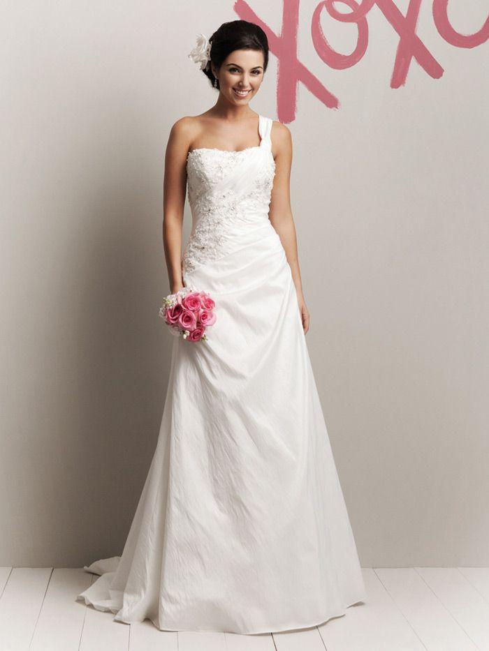 crinkle taffeta one shoulder glamorous spring a line wedding dress sweep train